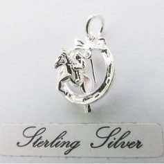 Sterling Silver horse jumping through horseshoe charm