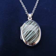 Sterling Silver Oval Opening Locket & Chain